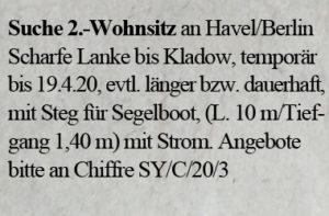 Suche 2.Wohnsitz für Yacht an der Havel / Berlin