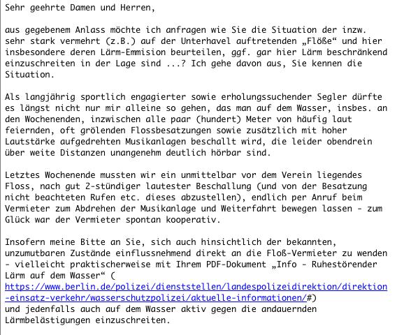 Anfrage an die Wasserschutzpolizei Berlin bzgl. Ruhestörender Lärm auf dem Wasser