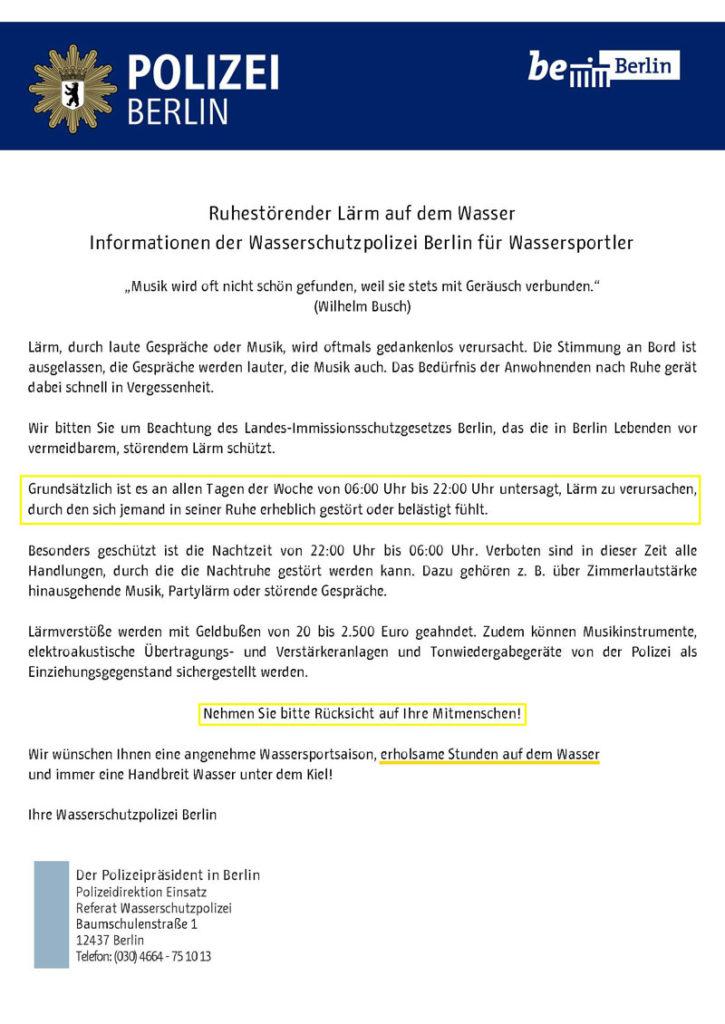 Lärm auf dem Wasser vermeiden Info-Flyer der WSP Berlin 2019