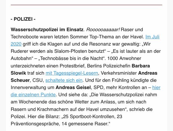 Screenshot / Text: Polizei - Wasserschutzpolizei im Einsatz - nl.tagesspiegel.de